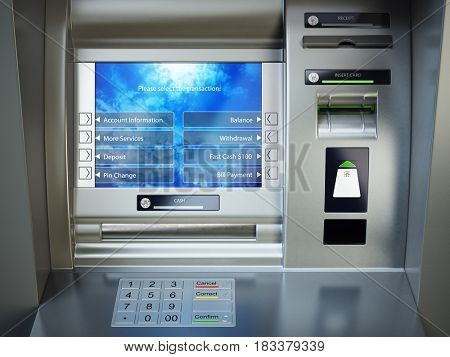 ATM machine. Automated teller bank cash machine. 3d illustration