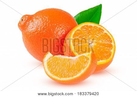 two orange tangerine or Mineola with slices and leaf isolated on white background.
