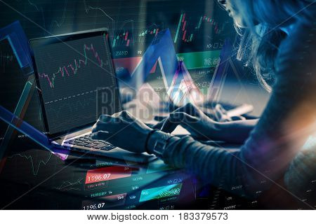 Forex. money technology business concept. Business woman sitting in front of a computer.