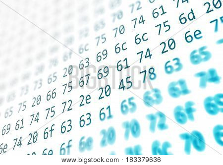 Hexadecimal code running up a computer screen on white background. Black digits.