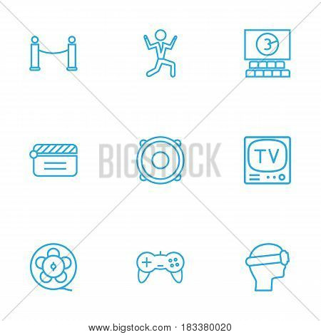 Set Of 9 Entertainment Outline Icons Set.Collection Of Barrier Rope, Speaker, Film Role And Other Elements.