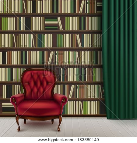 Vector home library interior with large bookcase full of different books, vintage red armchair and dark green curtain