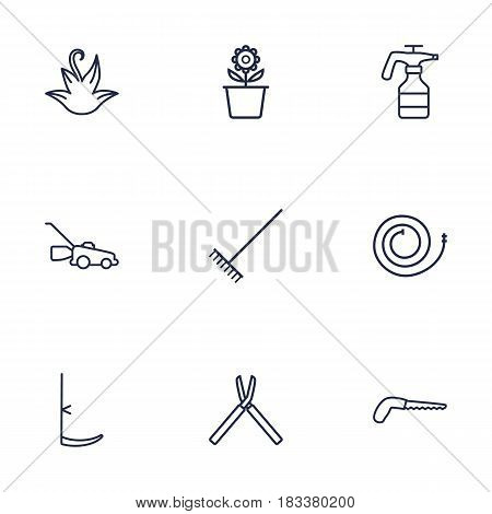 Set Of 9 Household Outline Icons Set.Collection Of Atomizer, Firehose, Harrow And Other Elements.
