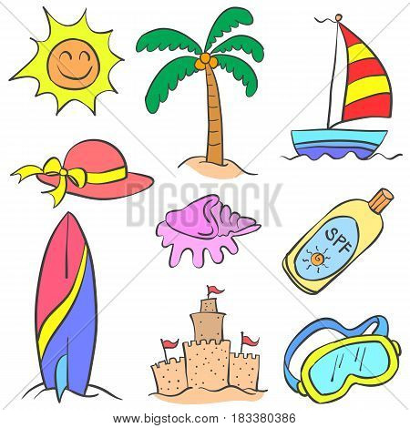 Collection stock of beach holiday object doodles illustration