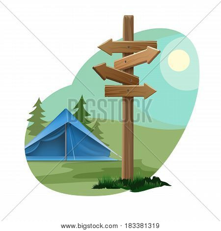 Vector rural landscape with sky, sun, forest, blue tent and directional signpost