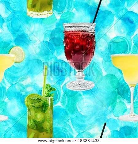A seamless pattern of vibrant cocktails on a turquoise background, including the classic Margarita and Mojito