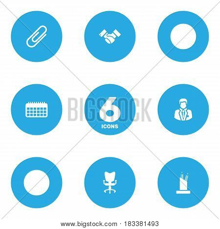 Set Of 6 Bureau Icons Set.Collection Of Handshake, Pencil Stand, Calendar Elements.