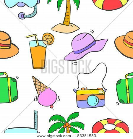 Illustration of summer object pattern collection stock