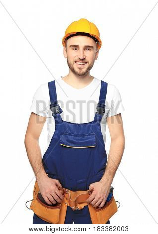 Handsome young carpenter on white background