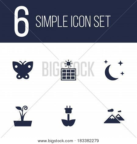 Set Of 6 Nature Icons Set.Collection Of Pinnacle, Green Power, Solar Panel And Other Elements.