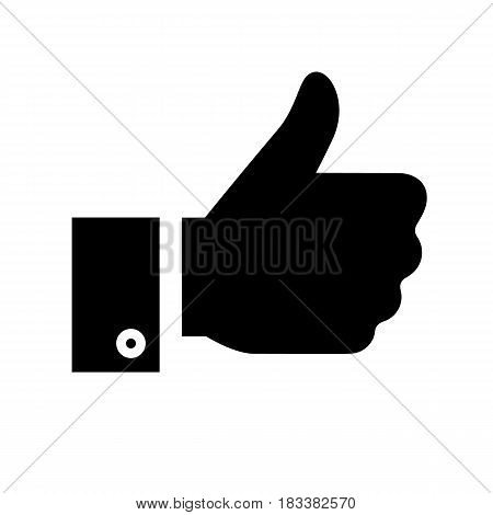 thumbs up, black icon isolated on white background