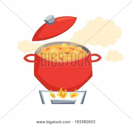 Boil vegatables soup in pot on stove. Cooking process vector illustration. Kitchenware and utensils isolated on white. Tasty food