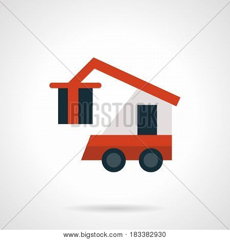 Symbol of red freight loader with hook lift and box. Equipment for loading and unloading goods at storehouse, railroad logistics station. Flat style red vector icon.