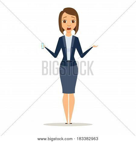 Surprised business woman shows phone. Afraid girl dressed in suit holding a digital device. Cartoon shocked manager or boss with smartphone isolated on white