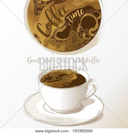 Cup of coffee latte and coffee beans isolated on white background vector sketch isolate