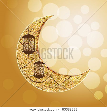 Arabic golden moon with traditional lantern and garland. Bokeh lights. Card invitation for muslim month Ramadan Kareem. Eid ul adha. Festive vector illustration background.