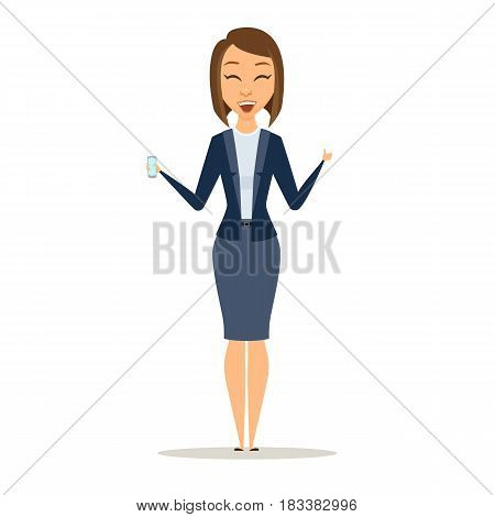 Business woman shows phone and thumb up. Happy girl dressed in suit holding a digital device. Cartoon manager or boss with smartphone isolated on white