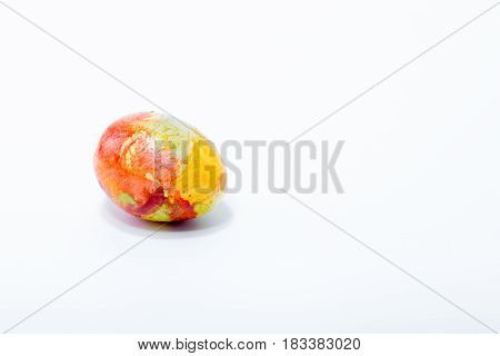 Easter Egg Hand Painted In Home - Abstract Different Colors, Isolated In White Background