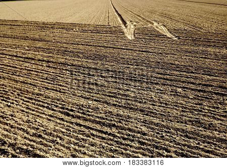 Ploughed and tilled land with tractor tracks