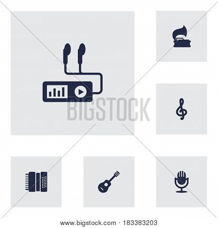 Set Of 6 Song Icons Set.Collection Of Quaver, Audio Device, Karaoke And Other Elements.