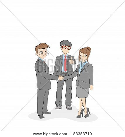 Concept of business people, business man and business woman handshake making a deal, teamwork solution , successful partnership. Vector Illustration