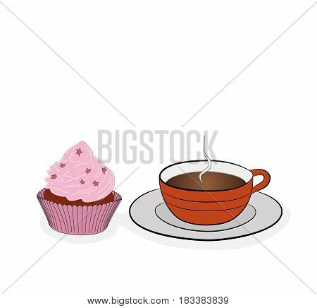 A cup of coffee (tea) and a cupcake. vector illustration.