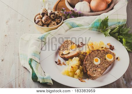 Vintage Photo Of Homemade Meatloaf With Small Eggs