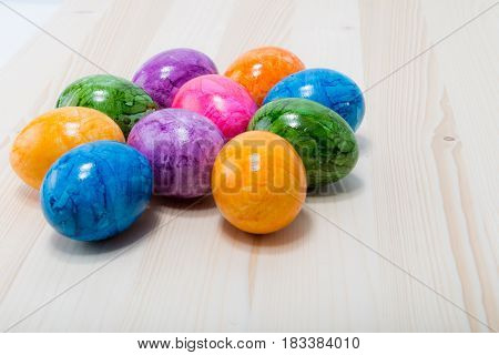 Ten Easter Eggs Hand Painted In Home - Abstract Different Colors Like Pink, Purple, Blue, Orange, Gr