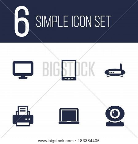 Set Of 6 Laptop Icons Set.Collection Of Laptop, Peripheral, Router And Other Elements.