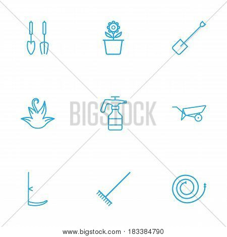 Set Of 9 Household Outline Icons Set.Collection Of Herb, Plant Pot, Spade And Other Elements.