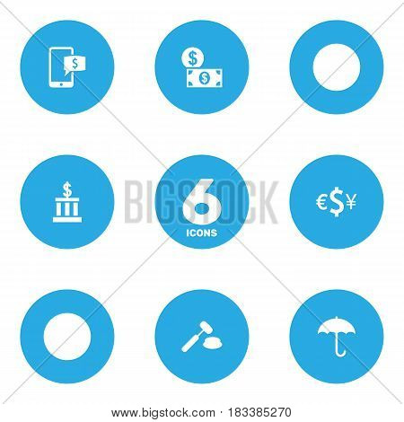 Set Of 6 Finance Icons Set.Collection Of Building, Money, Umbrella And Other Elements.