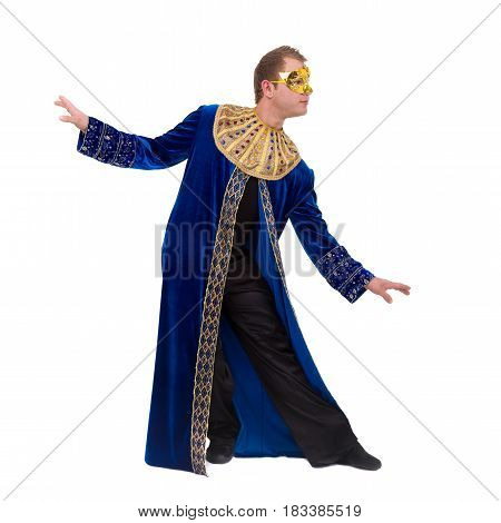 Carnival dancer man wearing a mask dancing, isolated on white background in full length.