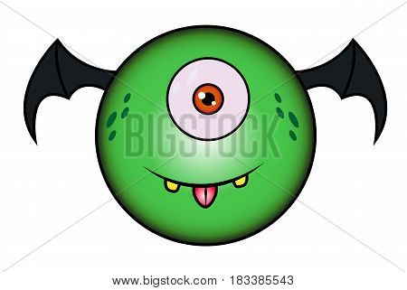 artoon Funny Green Monster With Wings .