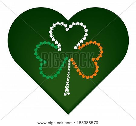 St. Patrick's day symbol green heart with irish flag attributes.