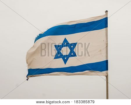 TEL AVIV, ISRAEL. May 6, 2014. Israeli national flag on the Independence day of Israel.