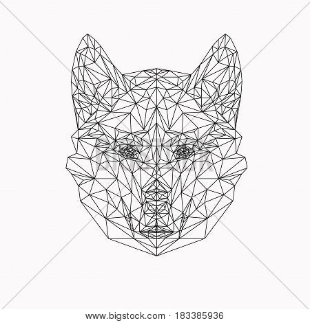 Vector dog in thin line style. Abstract low poly animal. Wolf face silhouette for banner, adult coloring book pages and printing on t-shirts