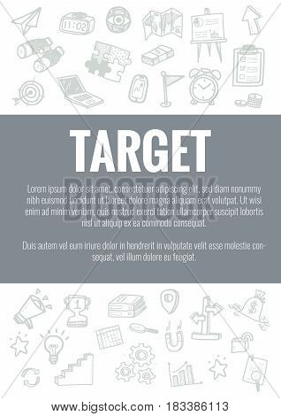 Vector Template For Target Theme With Hand Drawn Doodles Business Icon In Background.concept For Bus