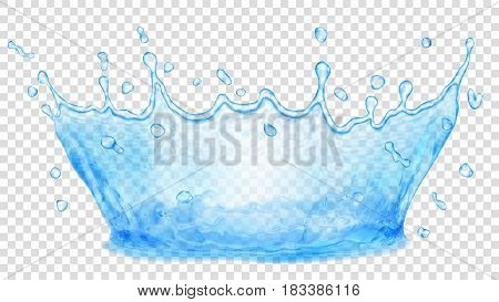 Transparent water crown. Splash of water in light blue colors isolated on transparent background. Transparency only in vector file