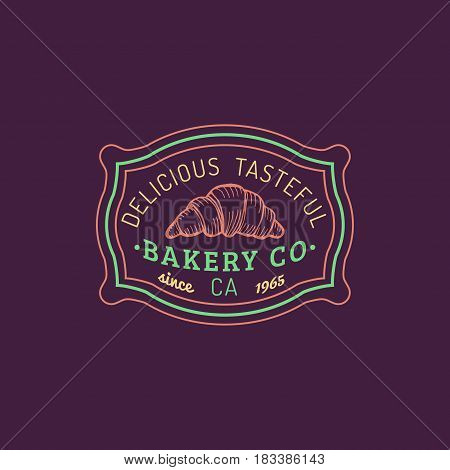 Croissant logo. Vector bakery label. Delicious tasteful cookie typographic poster. Hipster pastry icon. Biscuit sign. Desert emblem.