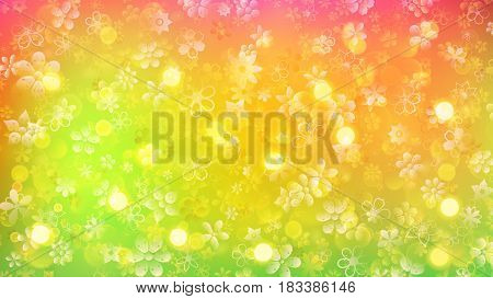Spring background of various flowers and sun glares in pink yellow and green colors