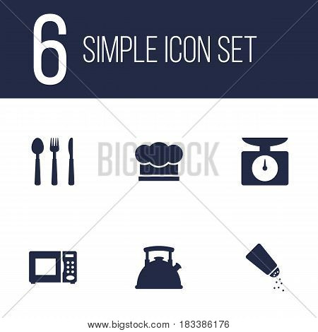 Set Of 6 Kitchen Icons Set.Collection Of Electronic Oven, Teapot, Saltshaker And Other Elements.