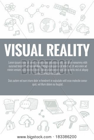 Vector Template For Visual Reality Theme With Hand Drawn Doodles Business Icon In Background.concept
