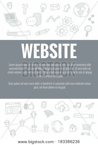 Vector Template For Website Theme With Hand Drawn Doodles Business Icon In Background.concept For Bu