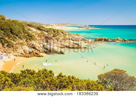 Panorama of the wonderful beaches of Chia Sardinia Italy.