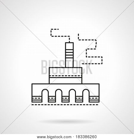 Symbol of industrial plant or manufacturing factory. Architecture and buildings for industry. Flat black line vector icon.