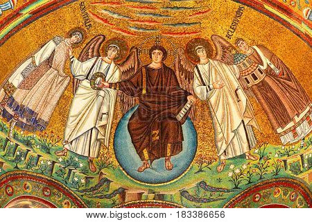 Ravenna, Italy - October 14, 2016: Mosaic in the Basilica of San Vitale in Ravenna (VI century)