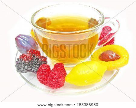 marmalade gelatin fruits dessert and tea cup