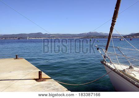 Sailboat Front And Embiez Island Landscape, France