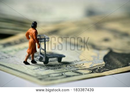 miniature traveler woman seen from behind pushing a luggage cart on a pile of dollar banknotes