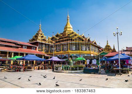 INLE, MYANMAR-MARCH 4, 2017: Phaung Daw Oo Pagoda on March 4, 2017, Inle lake, Shan state, Myanmar. (Burma)